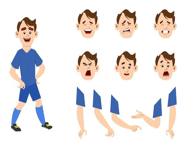 サッカー選手の漫画のキャラクターの異なるタイプの表情と手のセット