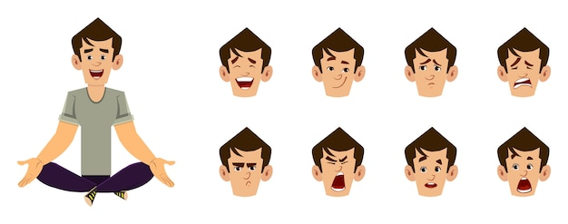 Случайный человек мультипликационный персонаж делает йога или расслабиться медитации. бизнесмен персонаж с другим типом выражения лица