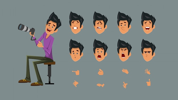 Фотограф персонаж с набором эмоций для дизайна движения и анимации