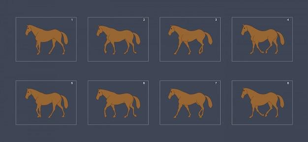 馬の歩行サイクルアニメーションスプライトシート。