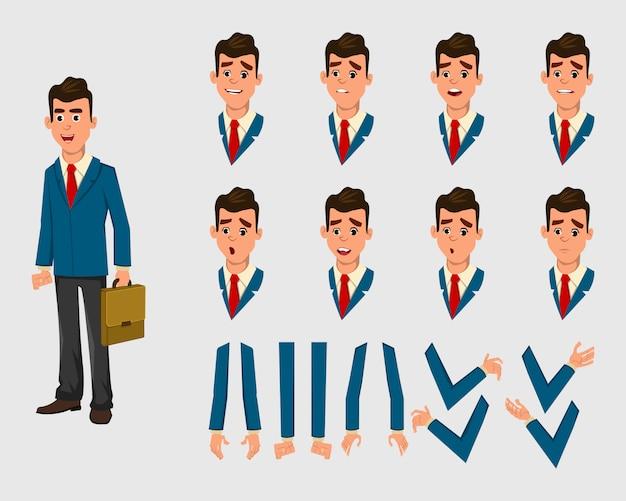 Бизнесмен персонаж для анимации. разные эмоции лица и руки
