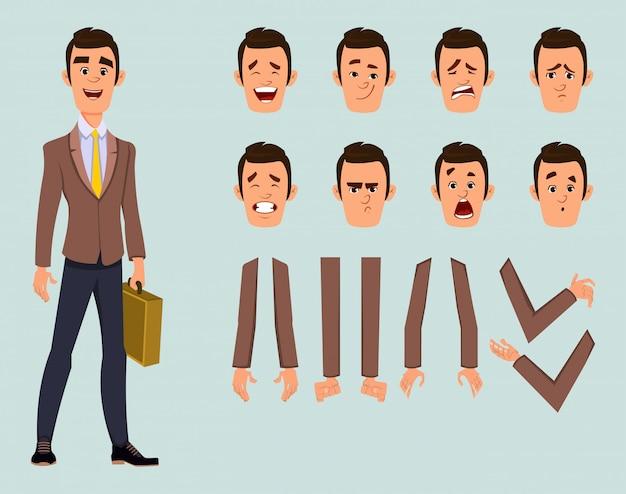Бизнесмен персонаж с различными выражениями лица и рук