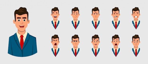アニメーション、動きまたは何か他のビジネスマンのさまざまな顔の感情