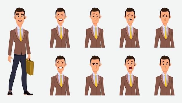 Бизнесмен с различным выражением лица