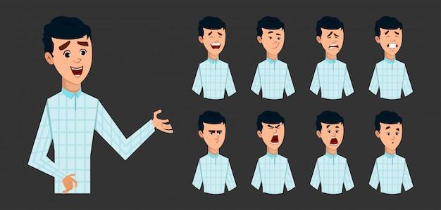 Молодой мальчик персонаж с различным выражением лица коллекции
