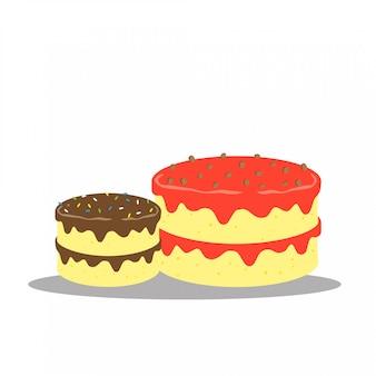 かわいい幸せなおいしいケーキベクターデザイン