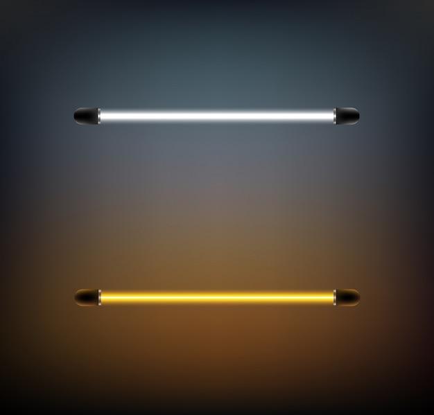 Неоновая лампа белого и желтого цвета