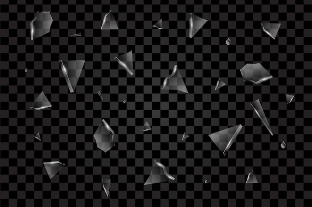 壊れたガラスベクトルの現実的な透明な破片