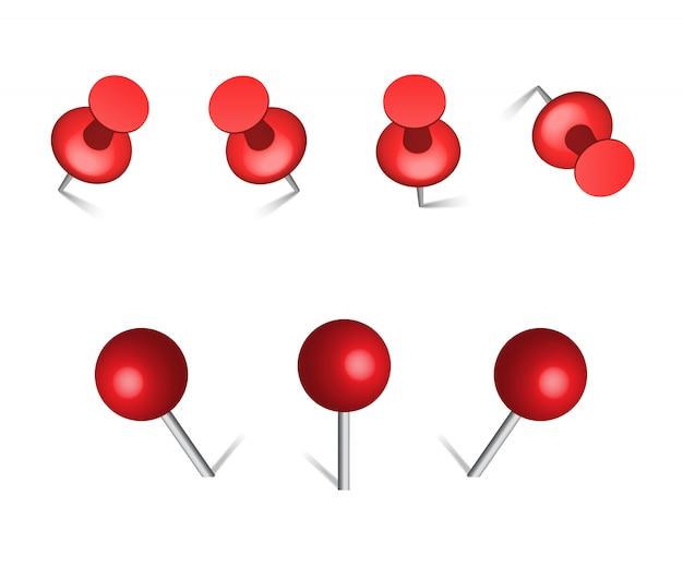 Красный канцелярские кнопки пин вектор.