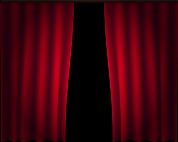 カーテンステージビッグセットベクトル。赤い絹のカーテン