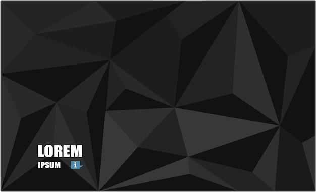 多角形のモザイクの黒い背景