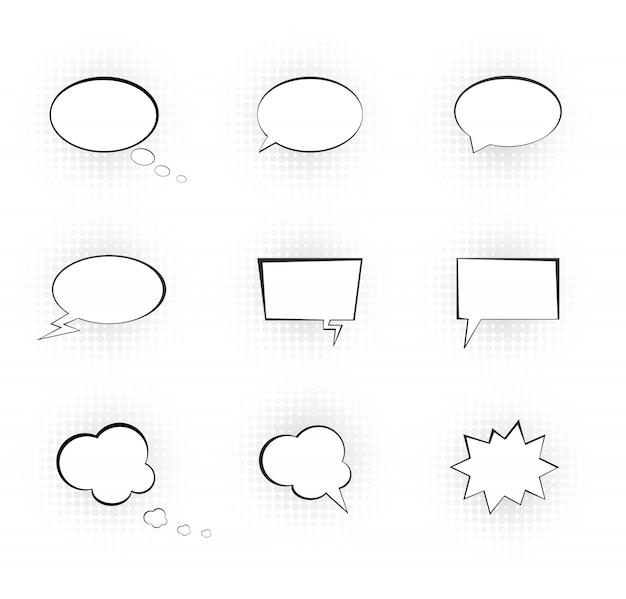 Речевые пузыри. комикс вектор речи коробка