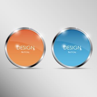 金属フレーム付きの丸いボタン。