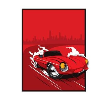 赤い車が街を出る
