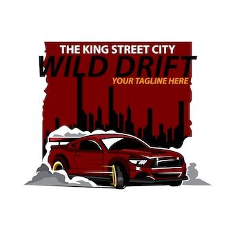 通りの街のドリフトに赤い車