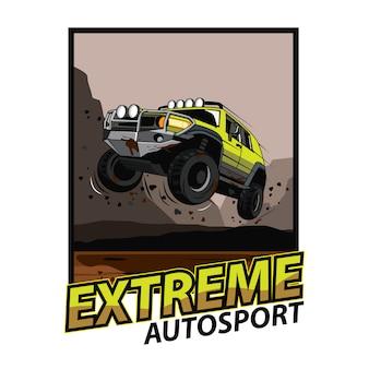 Джип машина прыгает по грязи