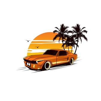 Желтая машина и закат