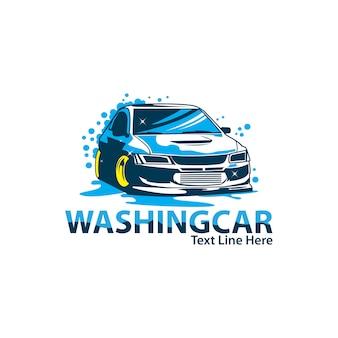 車のロゴを洗う
