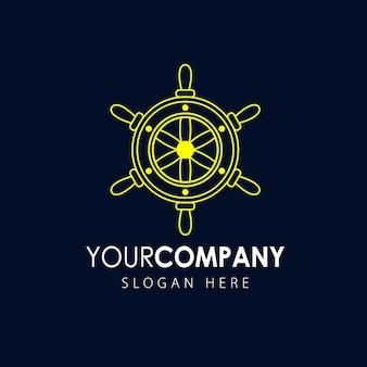Иконка корабля рулевого колеса, морской логотип