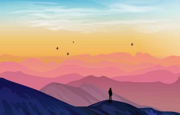 カラフルなグラデーションの美しい山の風景イラスト