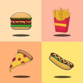 分離されたファーストフードイラスト、ハンバーガー、ホットドッグ、フライドポテト、ピザ漫画アイコンのセット