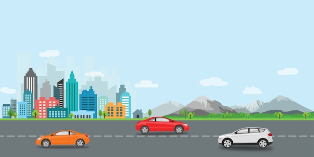 都市景観ベクトルイラストフラットデザイン