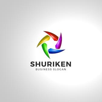 Шарикен - звездный логотип шаблон