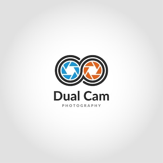 デュアルカメラロゴは、モダンなモバイル写真ロゴです