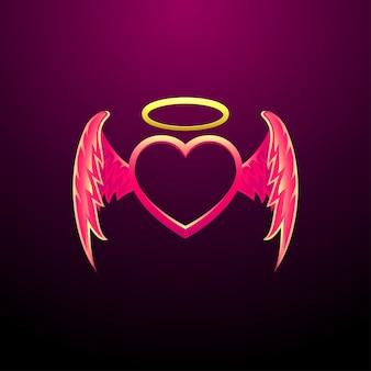 エンジェルハートフライングハートと天使の羽ベクトル画像