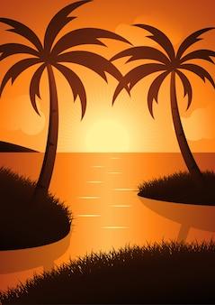 ビーチの夕日の美しさ