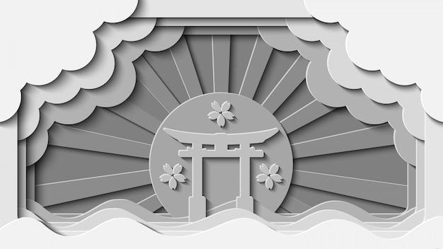 Белой бумаги вырезать японские ворота ориентир векторный фон
