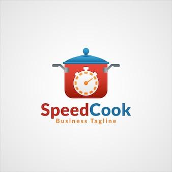 スピードクック-プロフェッショナルファーストフードレストランロゴ
