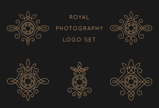 Королевская фотография логотип набор шаблонов дизайна