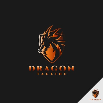 ドラゴンのロゴ-シールドコンセプトを持つ多目的ドラゴンロゴ