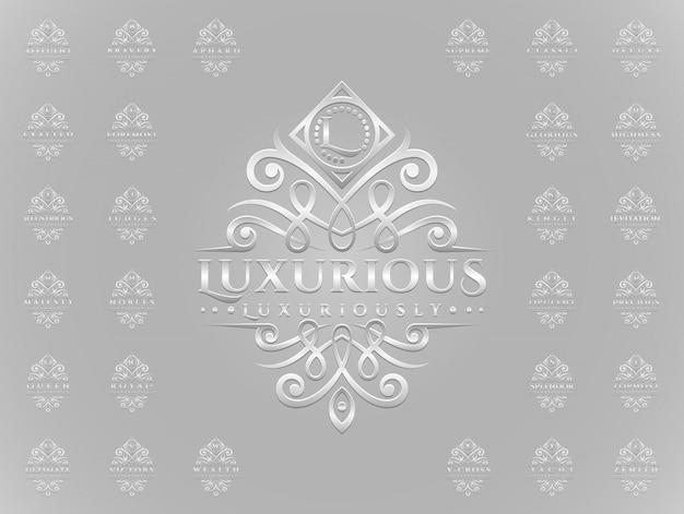 Роскошный набор логотипов с серебряным орнаментом