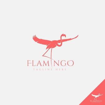 シンプルなシルエットスタイルのアートとフラミンゴのロゴ