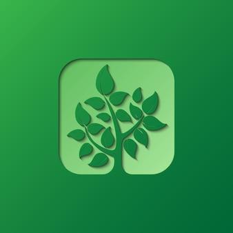 Шаблон логотипа природы зеленой бумаги