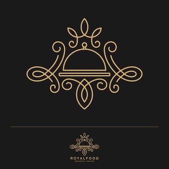 Королевская еда. шаблон логотипа роскошного ресторана