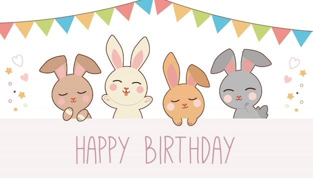 幸せな誕生日パーティーでかわいいウサギのバナー。