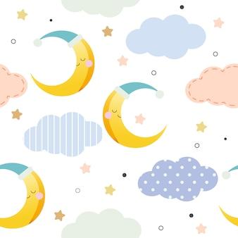 かわいい月のシームレスパターン