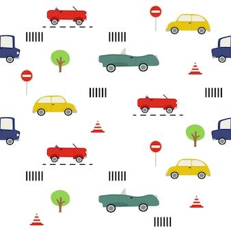 車のシームレスなパターン。車と交通標識のパターン