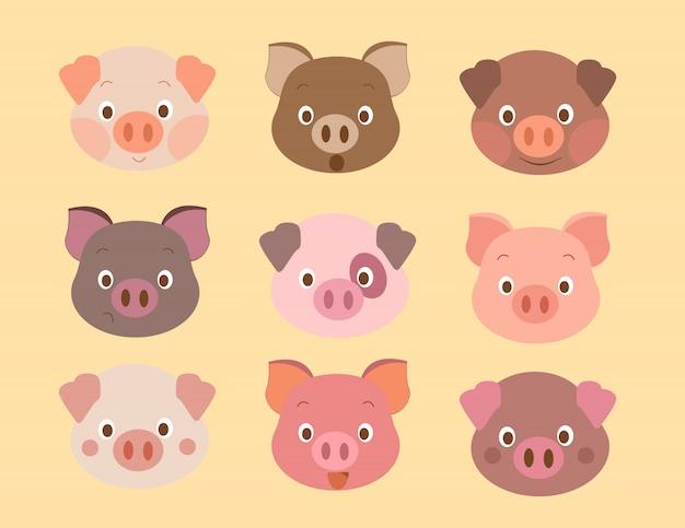 豚模様の顔