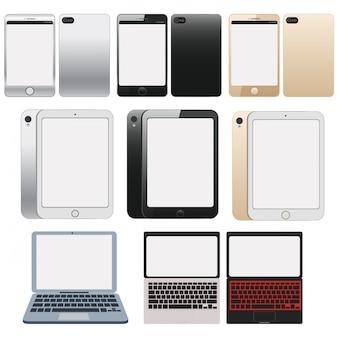白い画面を持つ電子機器、白い、光沢のある画面を持つ電子機器