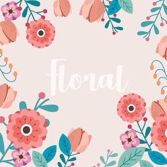 野生の花とカード、葉。春のコンセプトです。花のポスター、招待状。
