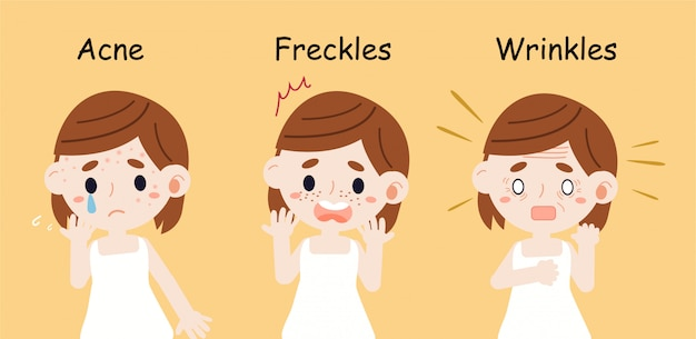 女の子はにきびそばかすとしわについての皮膚の問題があります