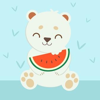 Белый медведь ест арбуз