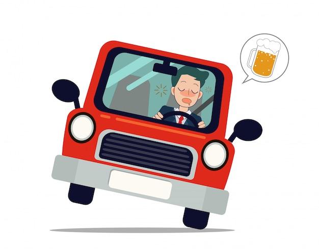 男はビールで車を運転します。