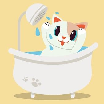 バスタブで横になっているかわいいキャラクター漫画猫
