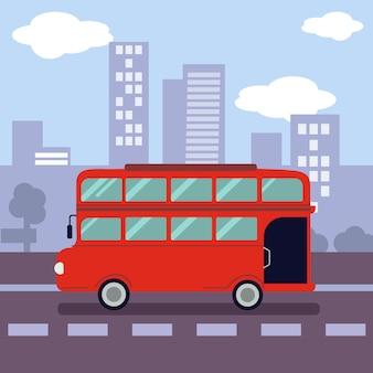 都市のシンボルの形をした赤い二階建てバスのイラスト。
