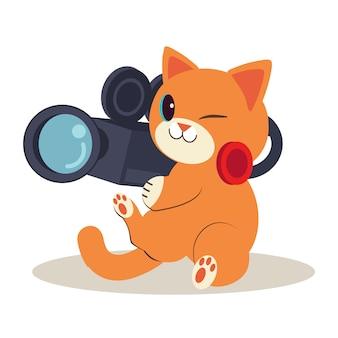 地面に座っているかわいい猫のキャラクター。猫は映画を作っています、そしてそれはとても幸せです。カメラマンとして働くかわいい猫